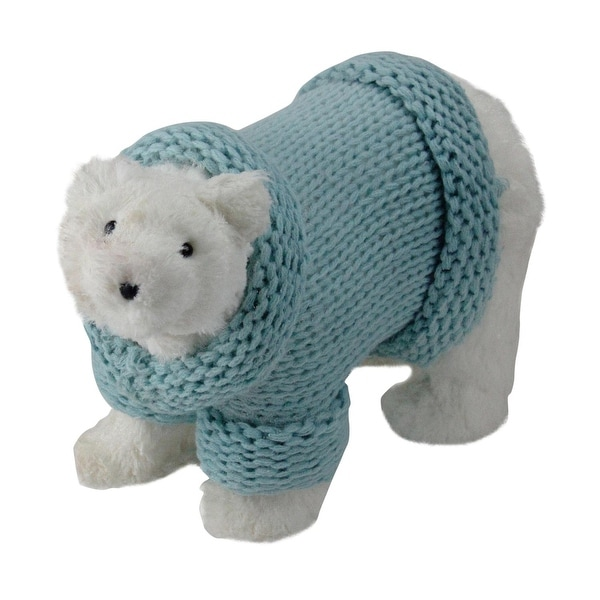 """12.5"""" Retro Christmas White Standing Polar Bear in Mint Green Knit Sweater Christmas Decoration"""