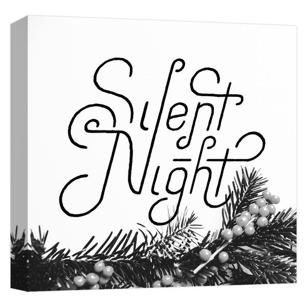 """PTM Images 9-124720 PTM Canvas Collection 12"""" x 12"""" - """"Silent Night"""" Giclee Christmas Saying Art Print on Canvas"""