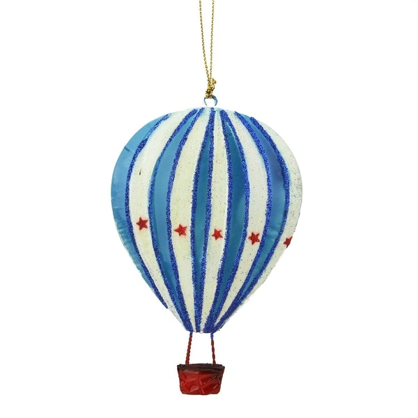 """5"""" Red, White and Blue Tin Hot Air Balloon Decorative Christmas Ornament - multi"""