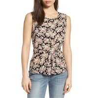 Pleione Black Womens Size Small S Floral Tie Front Scoop Neck Blouse
