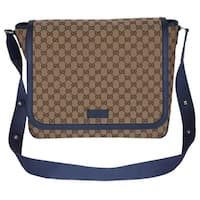Gucci 510340 Beige Blue Original Canvas GG Convertible Diaper Bag