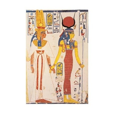 ''Nefertiti and Isis'' by Egyptian - Theban Tomb Mural African American Art Print (19.75 x 15.75 in.)