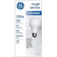 GE 72532 Rough Service Incandescent Light Bulb, 150 Watts, 130 Volts