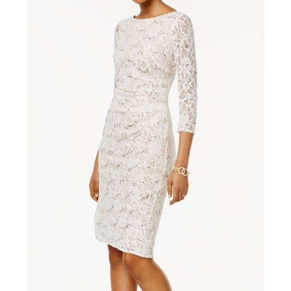 1fcca7049bf5 Shop Jessica Howard White Gold Womens Size 14 Lace Sequin Sheath ...