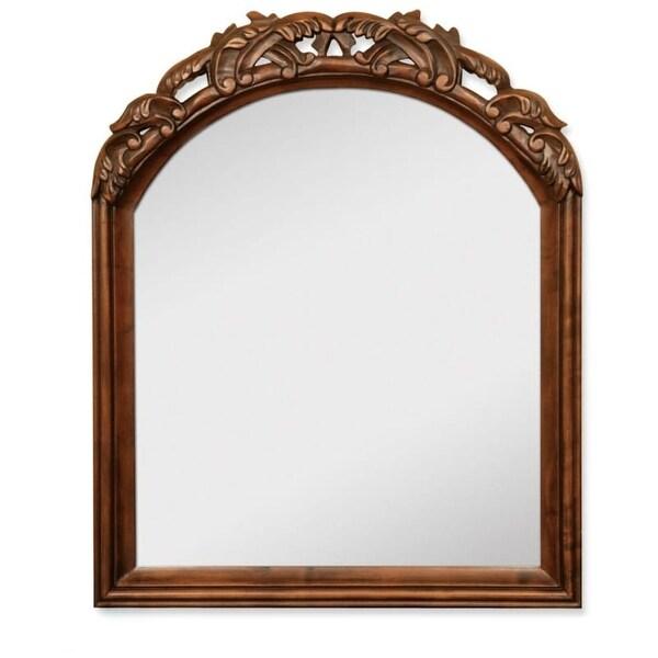 Jeffrey Alexander MIR009 Walnut Bombe Collection Arched 26 x 32 Inch Bathroom Vanity Mirror - N/A