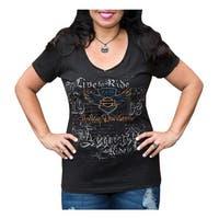 Harley-Davidson Women's 115th Anniversary Velocity Raw-Edge Short Sleeve Tee