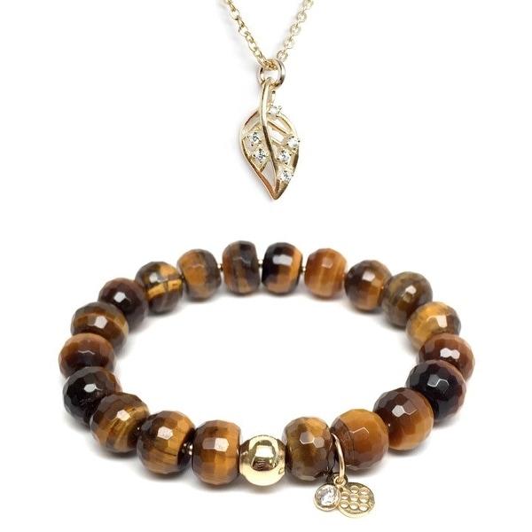 """Brown Tiger's Eye 7"""" Bracelet & CZ Leaf Gold Charm Necklace Set"""