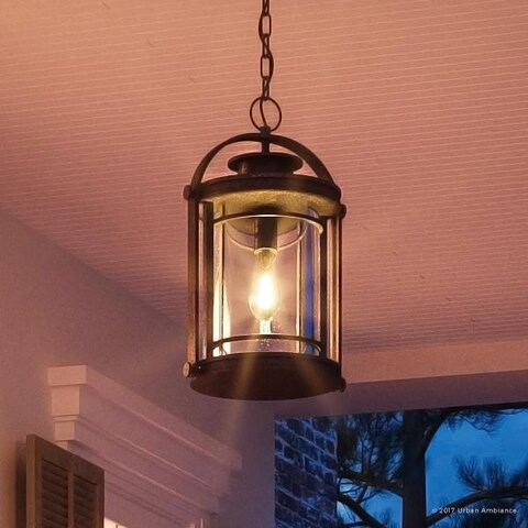 "Luxury MidCentury Modern Outdoor Pendant Light, 18""H x 10.5""W, with Craftsman Style, Black Silk Finish"