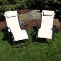 Sunnydaze Beige Oversized Zero Gravity Lounge Chair, Set of 2 - Thumbnail 1