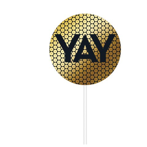 "Club Pack of 12 Gold and Black ""YAY"" Printed Lollipop Shaped Sequin Cake Toppers 8"""