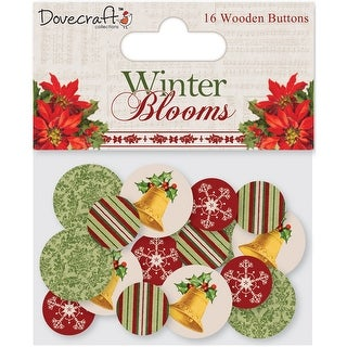 Dovecraft Winter Blooms Wooden Buttons 16/Pkg-