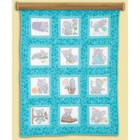 "Themed Stamped White Quilt Blocks 9""X9"" 12/Pkg-Kittens"