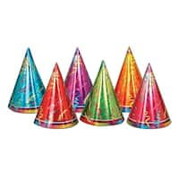 "Club Pack of 72 Multi-Colored Prismatic Cone Paper Party Hats 6.5"" - Multi"
