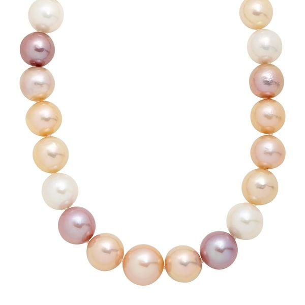 "Honora 12-16 mm Multicolored Freshwater Ming Pearl Strand Necklace in 14K Gold, 18"" - Size 18"