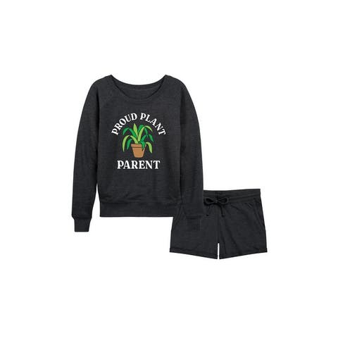 Proud Plant Parent - Women's French Terry Shorts Set - Heather Charcoal