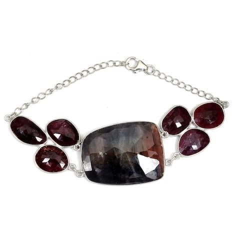 Sapphire, Ruby Sterling Silver Fancy Chain Bracelet by Orchid Jewelry