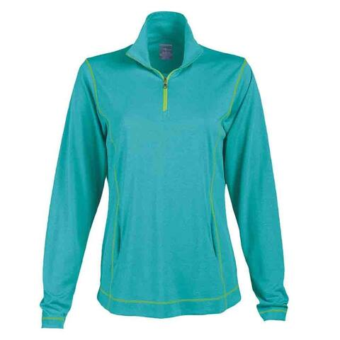 Page & Tuttle Womens Coverstitch Heather Mock Neck Athletic Outerwear Pullover
