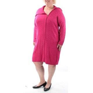 CALVIN KLEIN $139 Womens 1175 Pink Collared Zippered Tunic Dress Plus 3X B+B