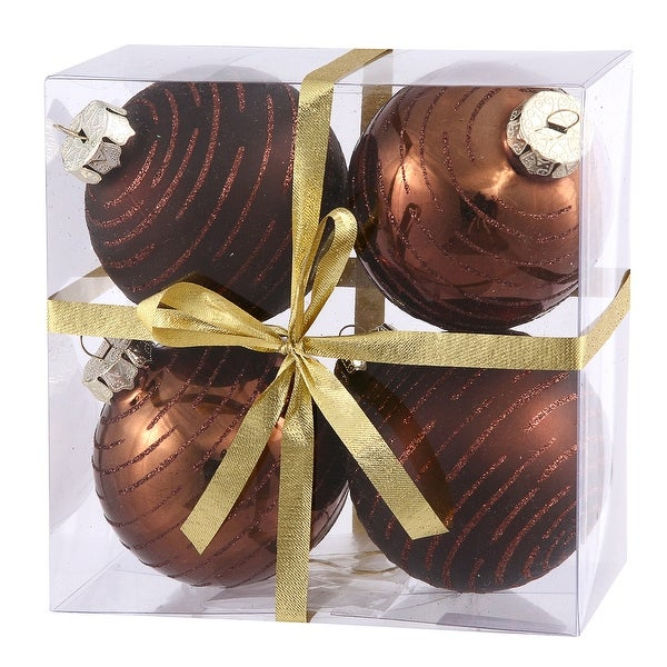 "3"" Chocolate Ball w/Glitter Asst 4/Box"