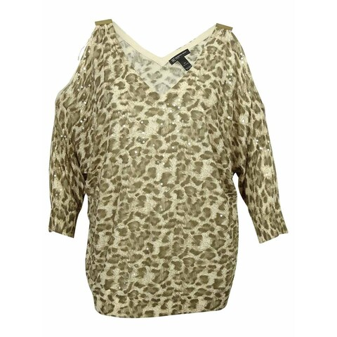 INC Women's Cold-Shoulder Animal Print Sweater - silver peony - 3x