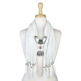 "Handmade Womens Charm Elephant Pendant Rhinestone Jewelry Scarf - White - 72"" long"