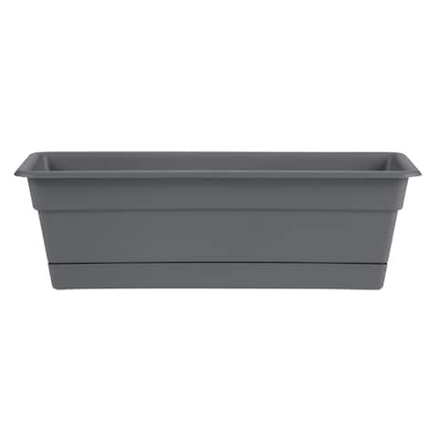 "Bloem Dura Cotta Window Box Planter w/Tray 18"" Charcoal Gray - 18"