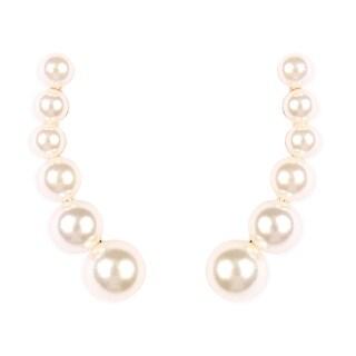"Riah Fashion's Simulated Pearl Climber Earrings - 1.3"""