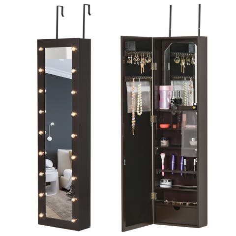 HOMCOM Jewelry Armoire with Mirror and 18 LED Lights, Wall-Mounted/Over-The-Door Cabinet with 3 Mountable Heights