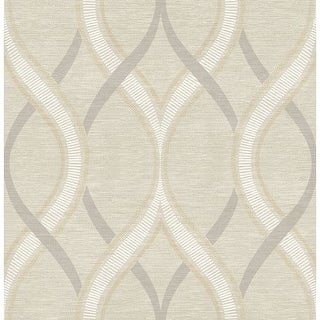 Brewster 2625-21849 Frequency Beige Ogee Wallpaper
