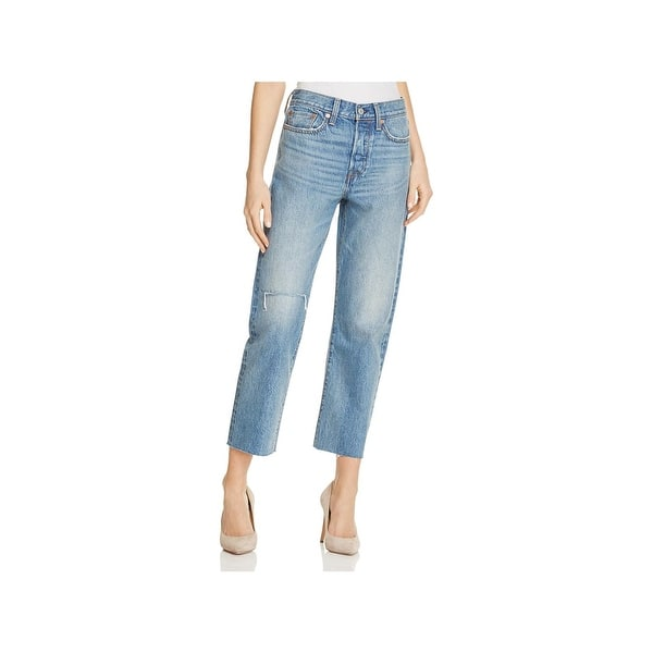 25f846079744 Shop Levi's Womens Wedgie Fit Straight Leg Jeans Distressed High ...