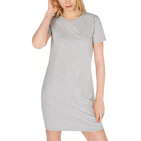 Michael Kors Women's T-Shirt Dress Gray Size Medium M Studded Mini