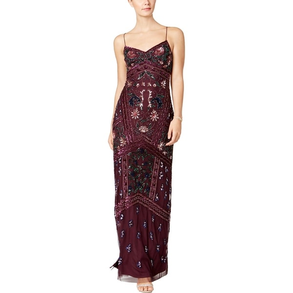76f89f88cb3d0 Adrianna Papell Womens Petites Evening Dress Sequined Spaghetti Strap - 12P