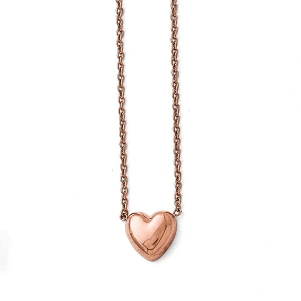 Chisel Stainless Steel Polished Pink IP-plated Heart Necklace - 17.5 in