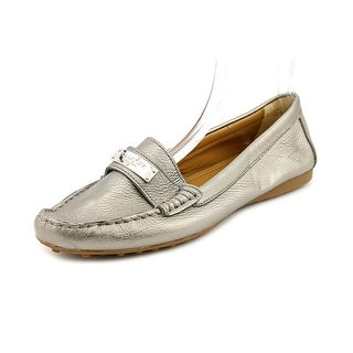 Coach Fredrica Women Moc Toe Leather Silver Loafer