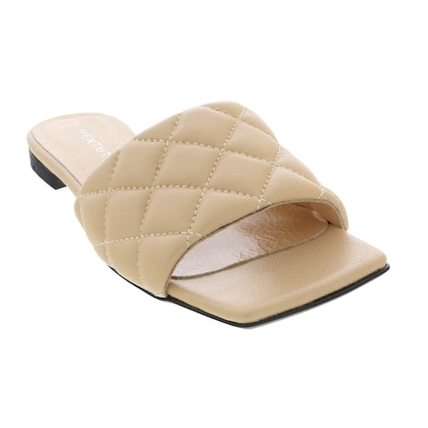 Ventutto Sand Quilted Flat Slide Leather Slipper-