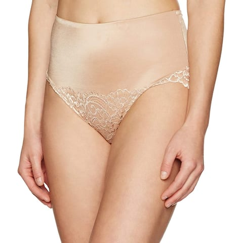 Brand - Arabella Women's Microfiber and Lace Tummy Control Brief Panties Shapewear, Nude, Large