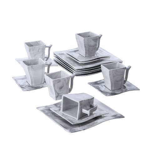 MALACASA Flora 18-Piece Dessert Set (Service for 6)