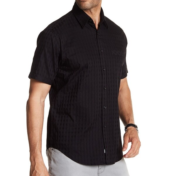 f4ad0297454 Shop JAMES CAMPBELL Deep Black Mens Size XL Button Down Pocket Shirt - Free  Shipping On Orders Over  45 - Overstock - 22384962
