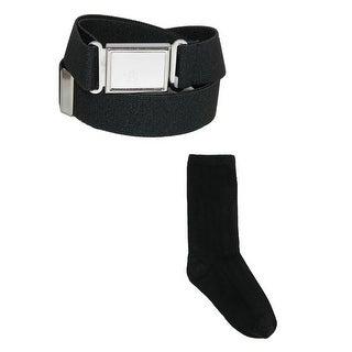 CTM® Kids' Magnetic Buckle Elastic 1 Inch Belt and Cotton Uniform Socks
