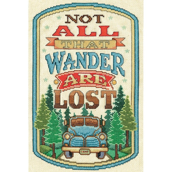 "All That Wander Counted Cross Stitch Kit-8""X12"" 14 Count"