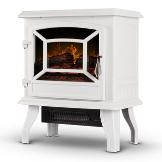 "DELLA 17"" 1400W Freestanding Portable Electric Stove Fireplace Infrared Quartz Heater with Realistic LED Flames, White"