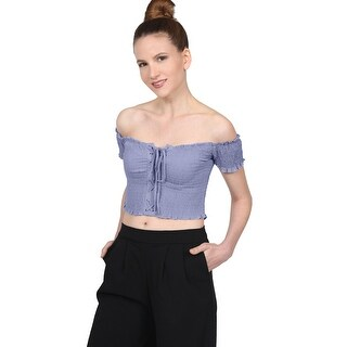 [NE PEOPLE]Women's Off Shoulder Short Sleeve Smocked Straps Crop Top