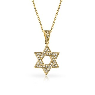 CZ Gold Plated .925 Sterling Silver Star of David Pendant Necklace 18 Inches