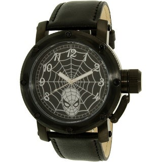 Disney Men's Spider-Man SPM149 Black Leather Quartz Fashion Watch