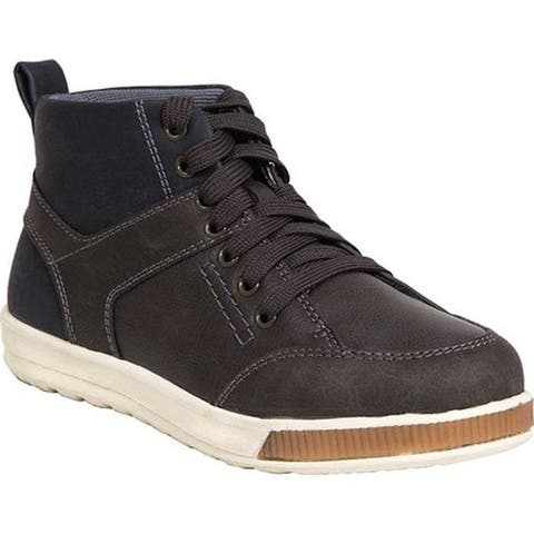 Deer Stags Boys' Landry High Top Sneaker Grey/Navy Simulated Leather