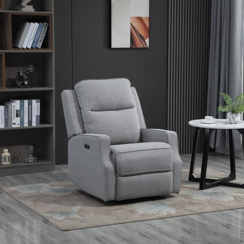 HOMCOM Electric Power Wall Hugger Recliner Chair/Armchair Sofa with Linen Upholstered Seat and Retractable Footrest