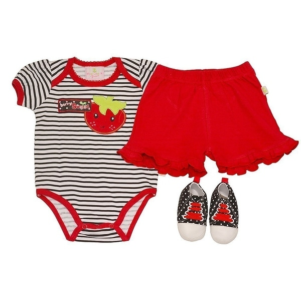 Duck Duck Goose Baby Girls Red Berry Bodysuit Sneakers 3 Pc Pants Outfit