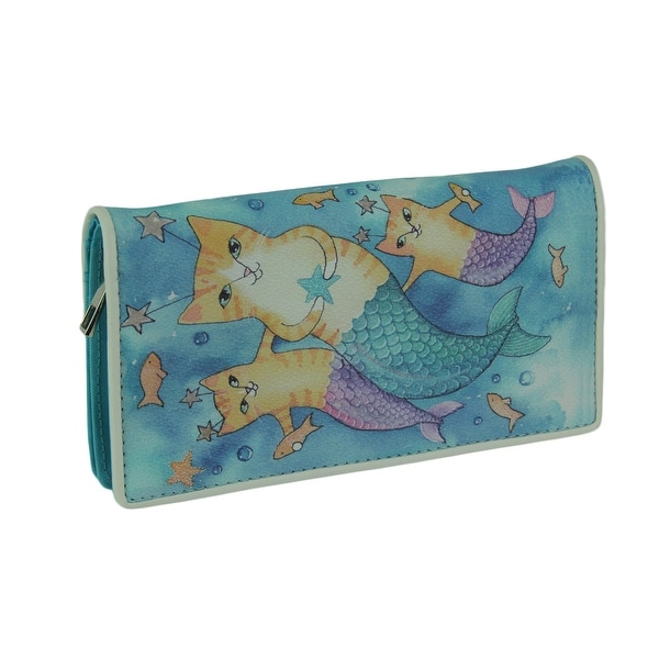 Underwater Cat Mermaids Blue Vinyl Fashion Wallet