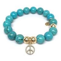 Julieta Jewelry Peace Sign Charm Turquoise Magnesite Bracelet
