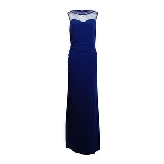 Patra Women's Beaded Illusion Ruched Dress - Sapphire